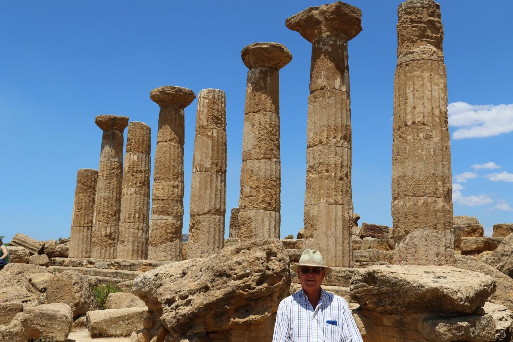 Ric in front Tempio De Ercole (Temple of Hercules) which is the oldest of the Agrigento's Doric temples built in the late 6th Century BC