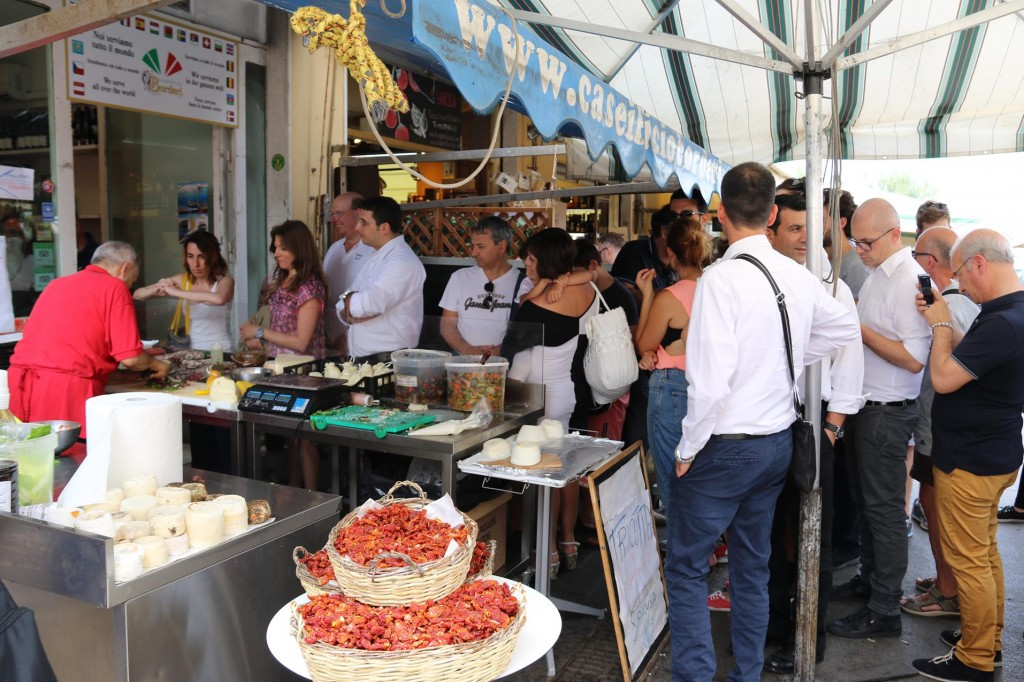 Situated by the market is well known cafe Caseificio Borderi, which opens at 4am. People queue up all day for the amazing freshly made sandwiches etc