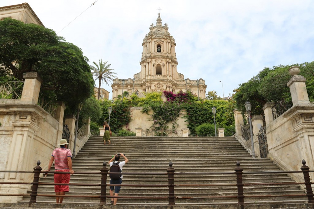 We climb many steps to the higher part of Modica to visit the beautiful Cathedral of San Giorgio