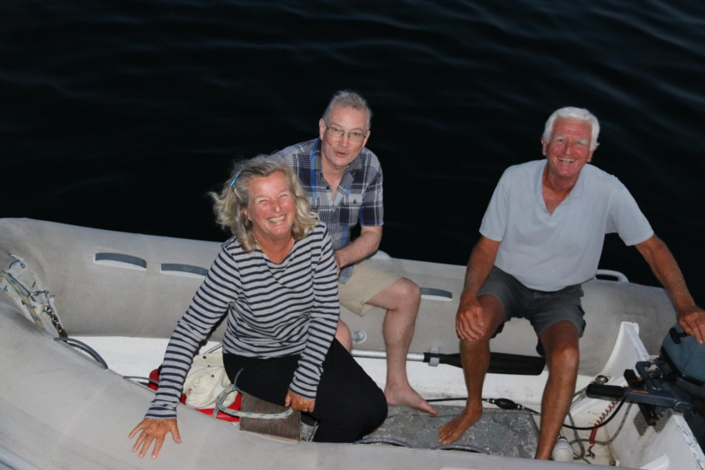 The crew of Restless of Auckland heading back to their boat