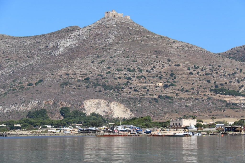 Montagna Grossa with fort Santa Caterina perched on it's highest point of Favignana Island