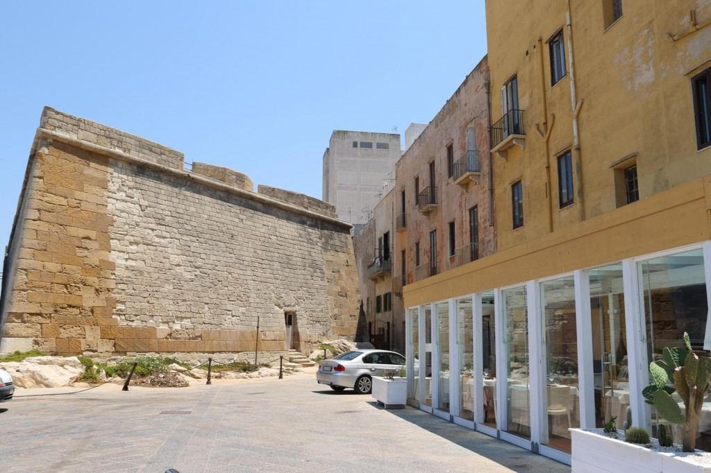 Part of the ancient city wall is beside the popular 'Le Mura Restaurant'