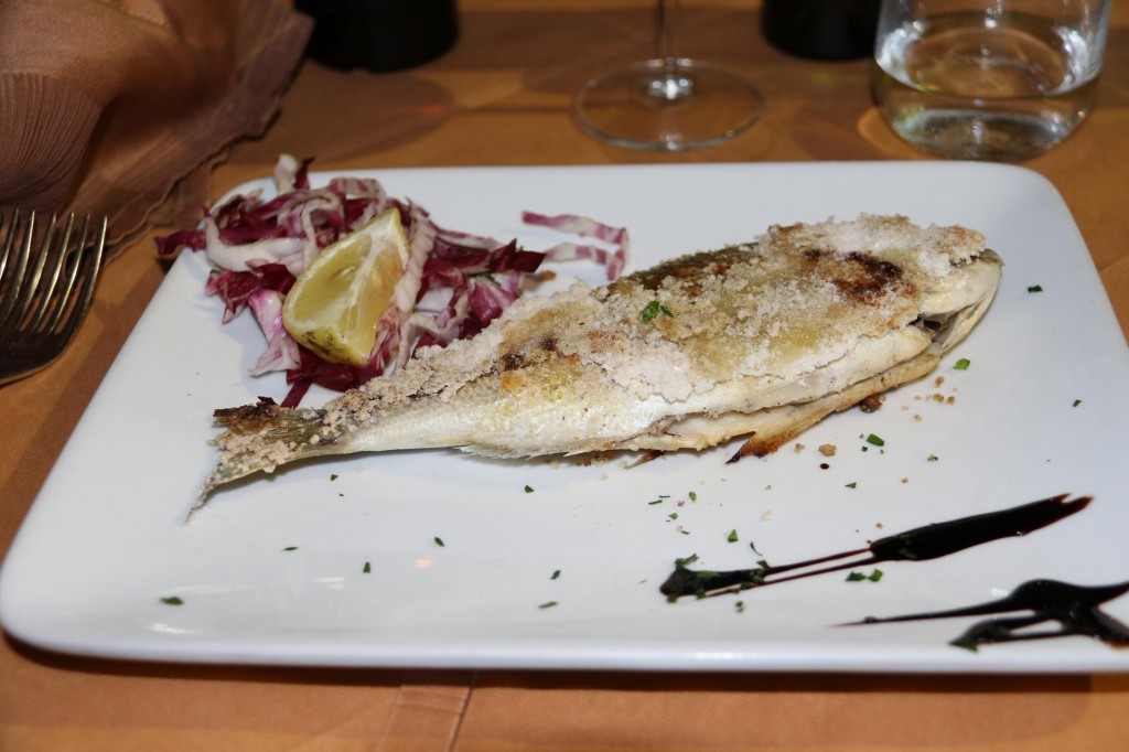 We both had beautifully fresh fish cooked with a salt crust