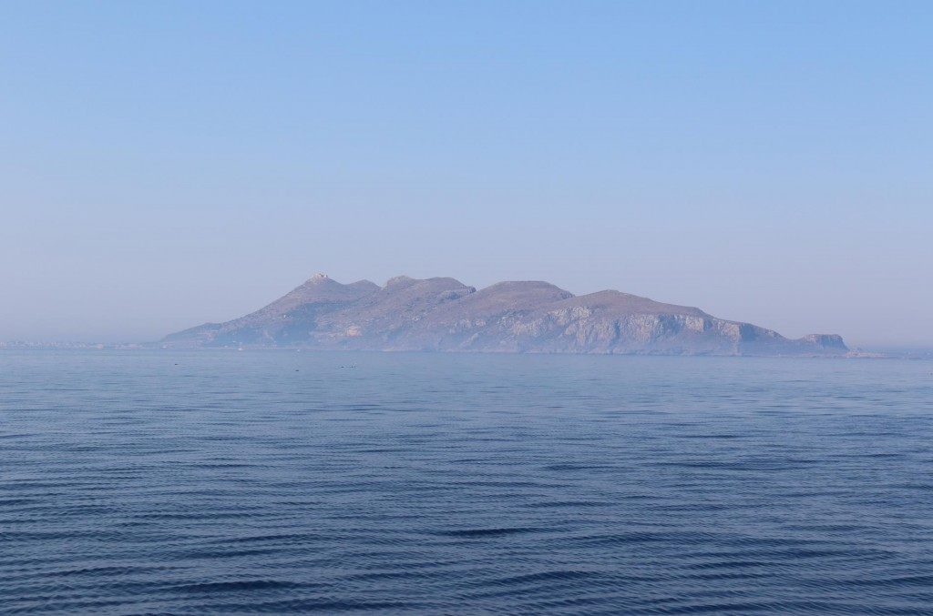 A sea mist appears to the south with Isola  Favignana in the background