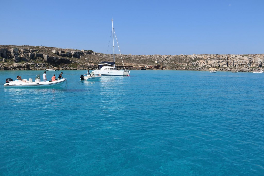 Crystal clear turquoise water greets us in this beautiful bay