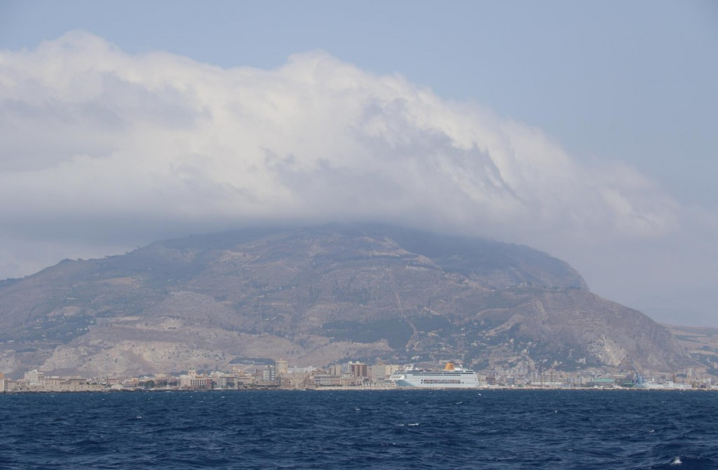 We look back to Trapani as we head back to the Egadi Islands