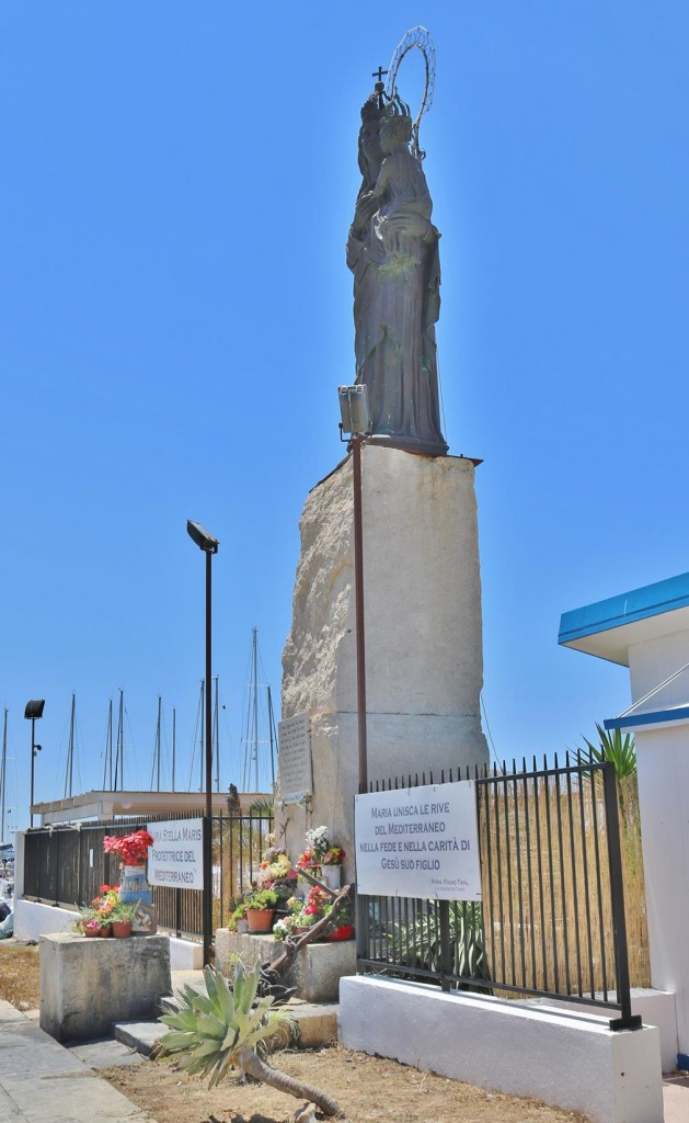 At the front entrance to the Colombus Marina is a statue of Maria Stella Maris a protector of the Mediterranean Sea