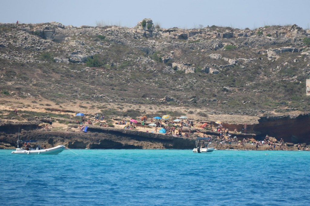 Many locals and visitors of Favignana come to Carla Rossa to swim in the amazing coloured water