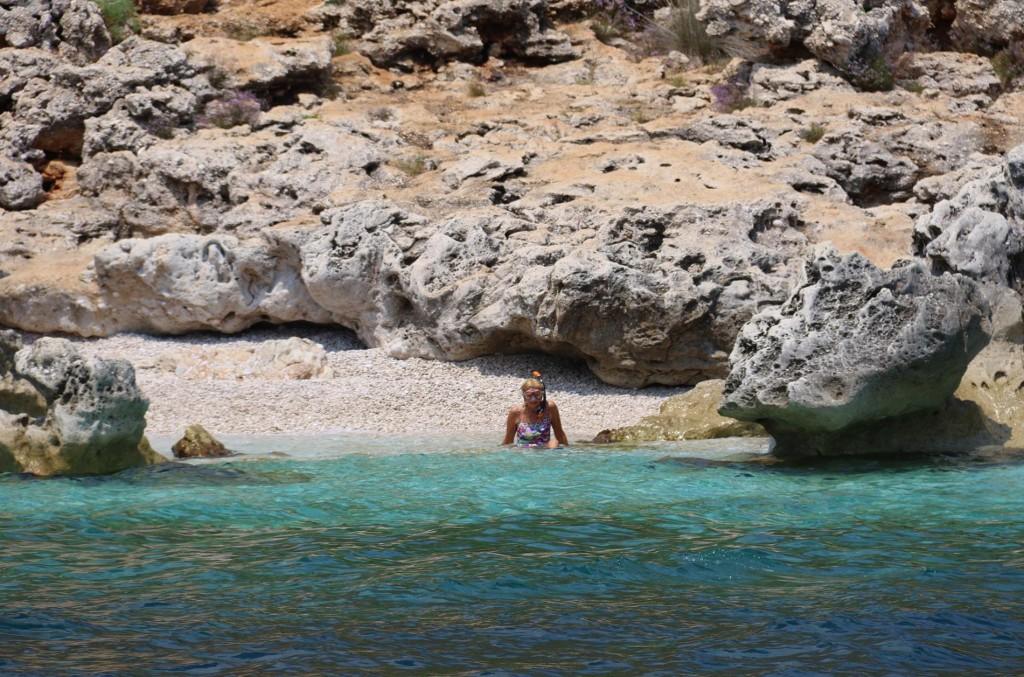 I go for a swim to the tiny rocky beach nearby