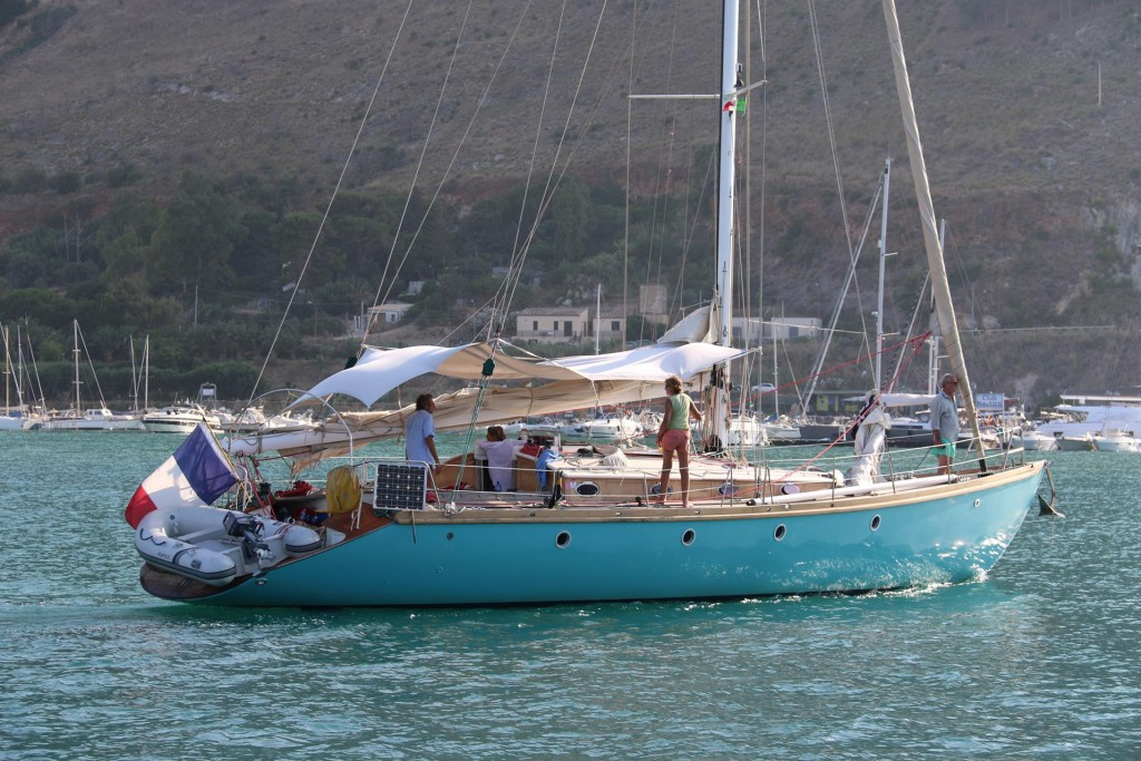 Another yacht with an attractive coloured hull arrives in the port