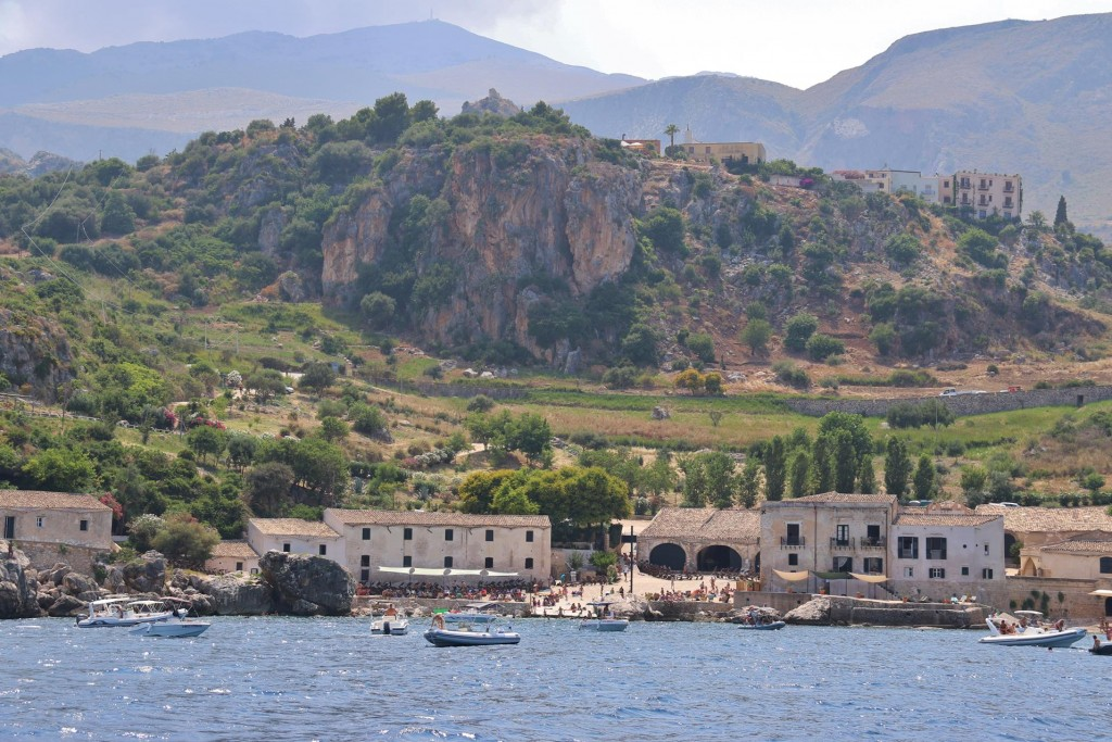 The buildings in the tiny sheltered bay were originally a tuna factory