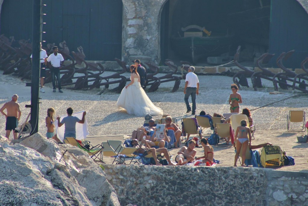After photos in and around the building at Scopello, the bridal party leave for their reception
