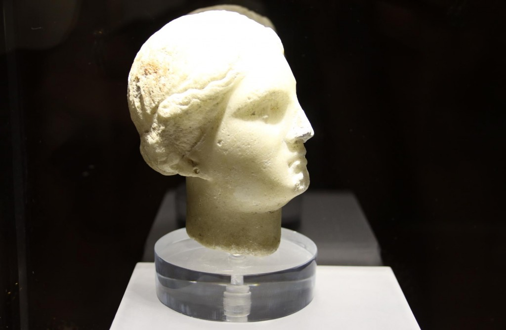 From the necropolis of Erice a small marble head of Aphrodite from the 5th Century BC is displayed