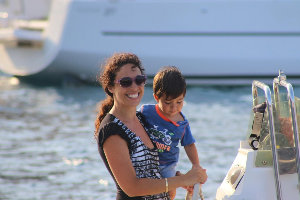 A lovely mother and son on a neighbouring boat