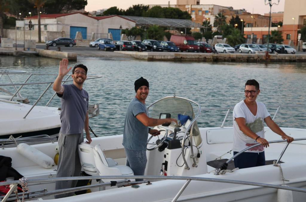 Local young men set out for some late fishing