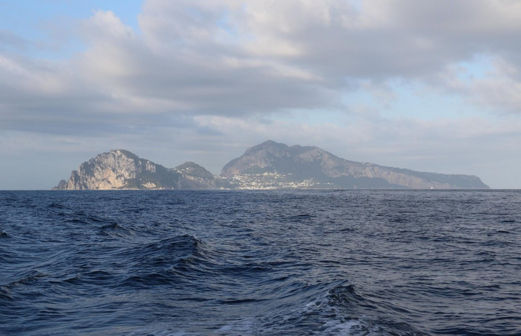 Looking back to the island of Capri