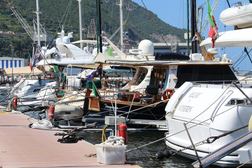 Tangaroa  securely berthed along the pier in Marina Porto Davide