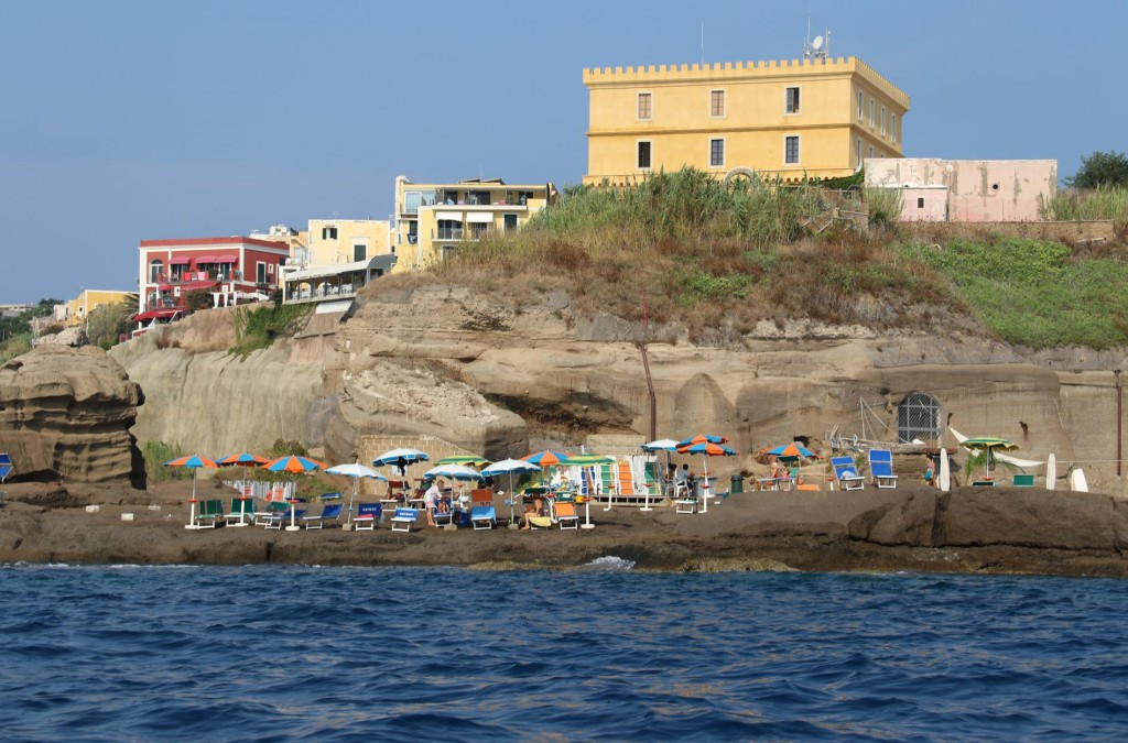 We take the dinghy ashore to explore the old town of Ventotene
