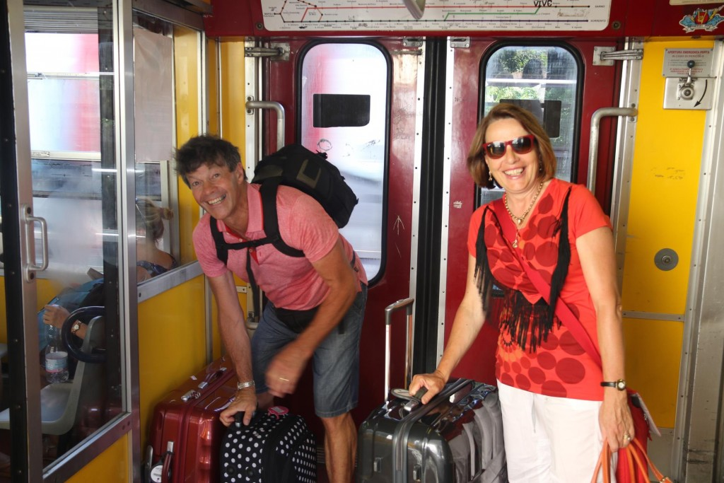 Don and Susie take the train from Castellammare di Stabia all the way to the airport in Naples