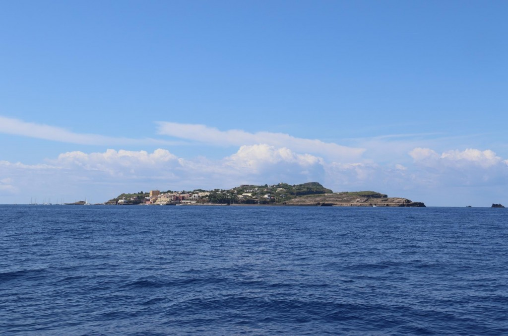 After over 3 hours of motoring Ventotene comes into view