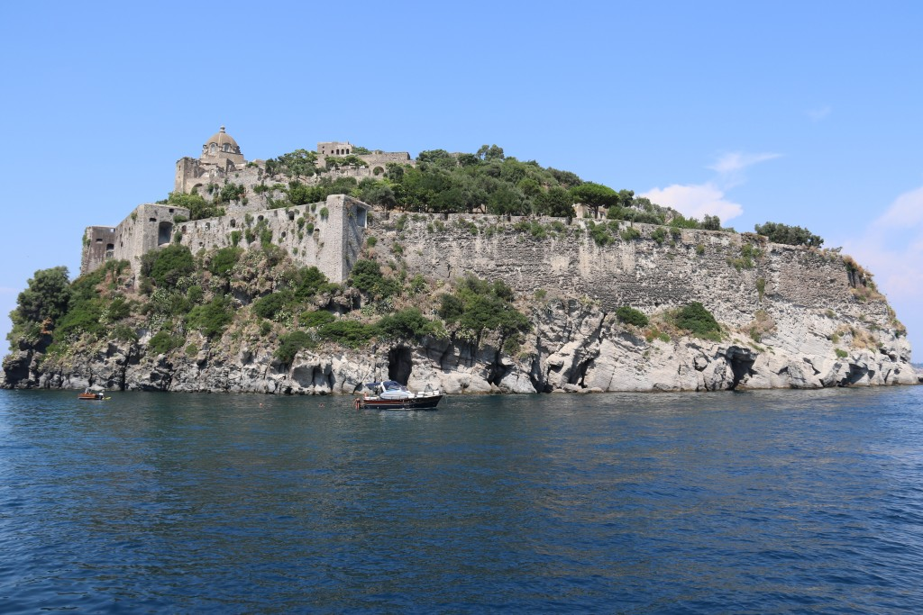 The Aragonese castle that is on an islet on the east coast of the island