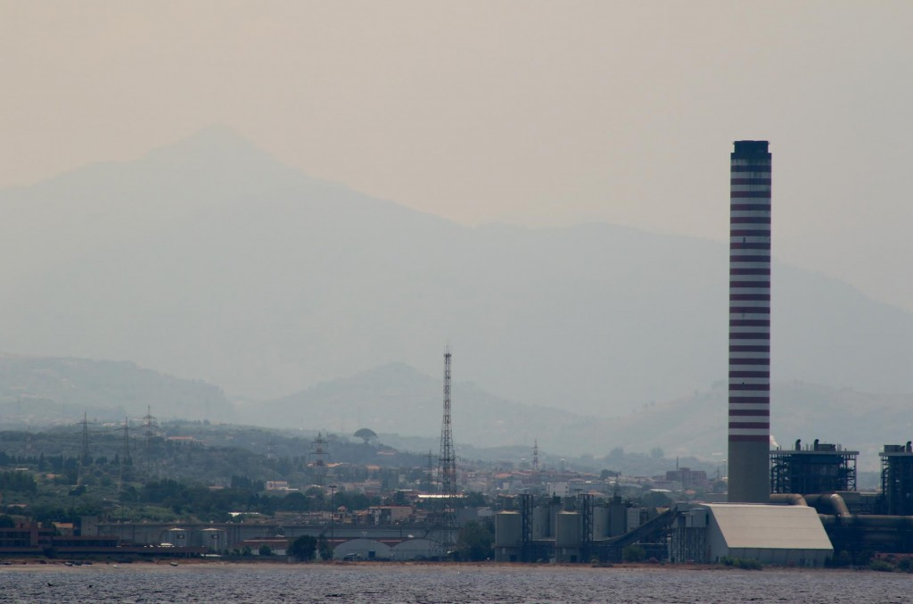 Around the industrial area of Milazzo there seems to be a constant smoke haze