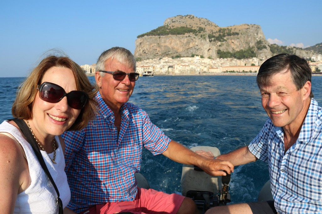 After spending the day swimming and relaxing we are invited for drinks aboard Peter and his wife's yacht at 6pm