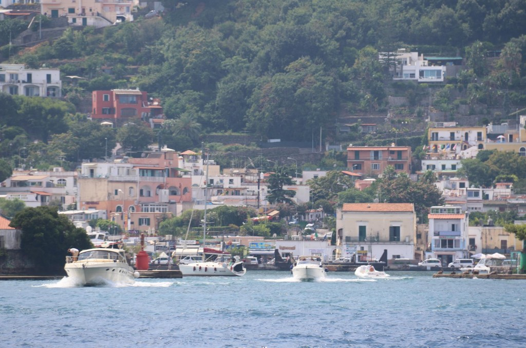 Porto d'Ischia with many boats heading out for the day