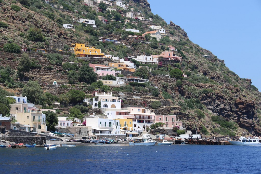 The first island we visit is Alicudi which is only 5 sq kms in size with a small village of colourful houses on the eastern hillside