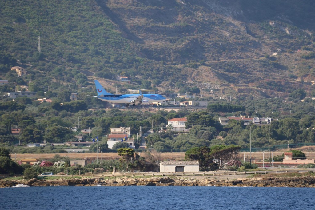 One of the many aircraft arriving every day bringing plenty of tourists to Sicily - our first guests will be arriving here later today