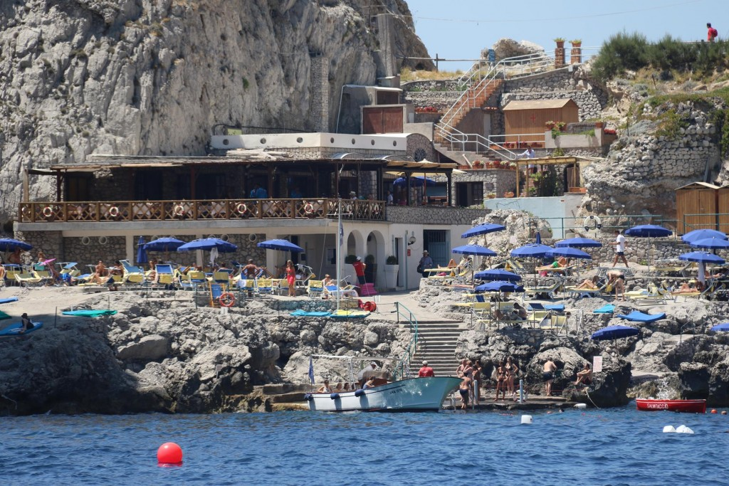 By Punta di Tragara there is another small popular bay which also has a nice restaurant built over the rocks