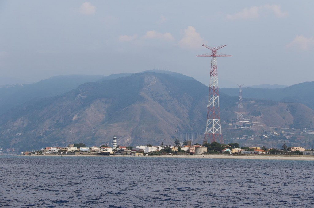 Approaching Cape Peloro on the north west tip of Sicily at the western entrance to the Messina Strait