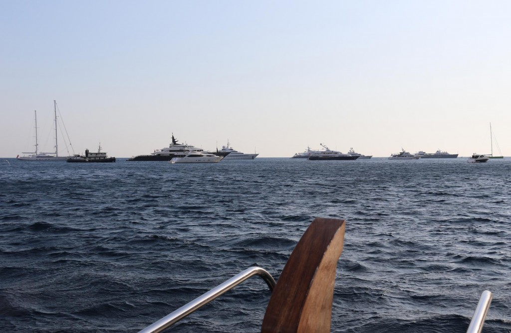 There is a huge fleet of superyachts in Piccola Bay today
