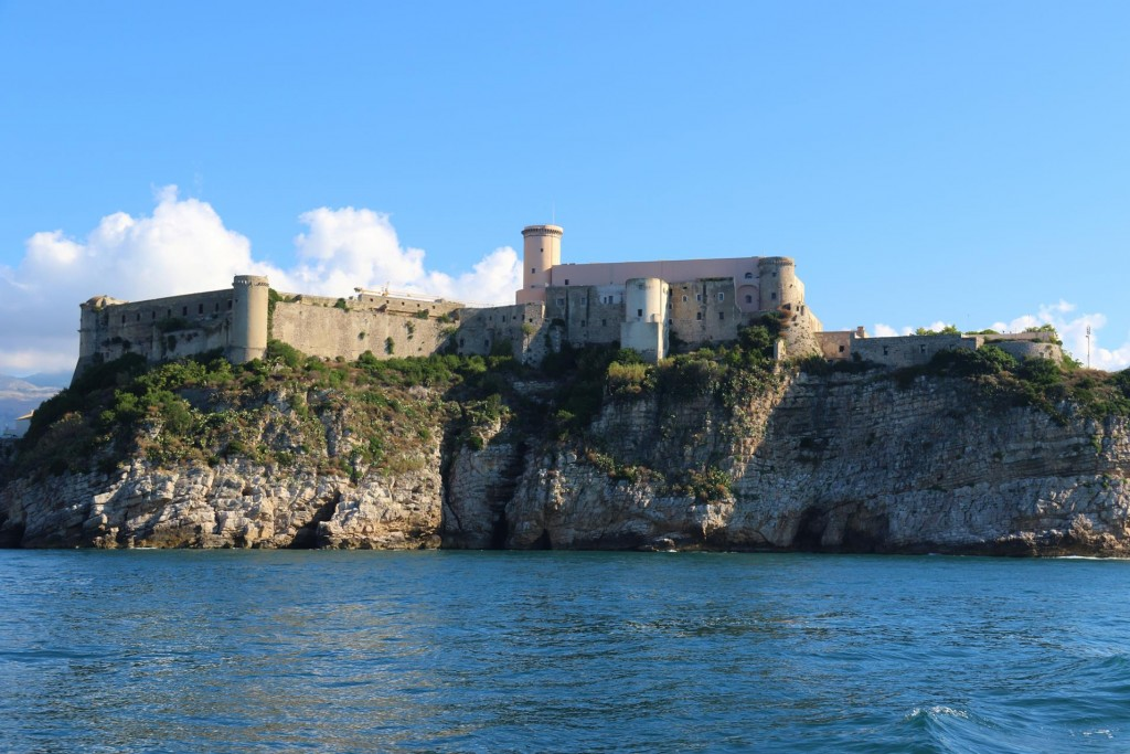 The Aragonese castle prominent on the northern side of the town