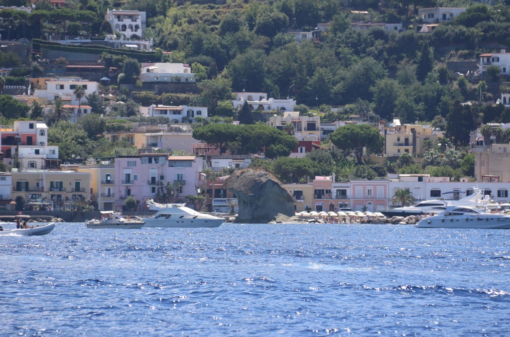 Heading east to the main port we pass Il Funghi, the mushroom shaped rock in Lacco Ameno