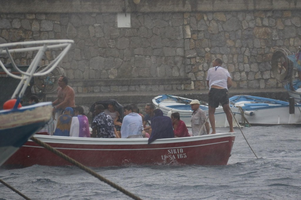 Day tripper boats started arriving back with drenched, cold and frightened passengers!!