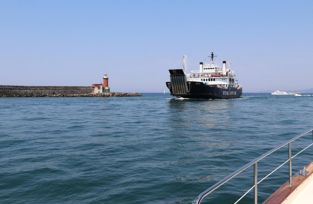 As we leave the port a car ferry arrives