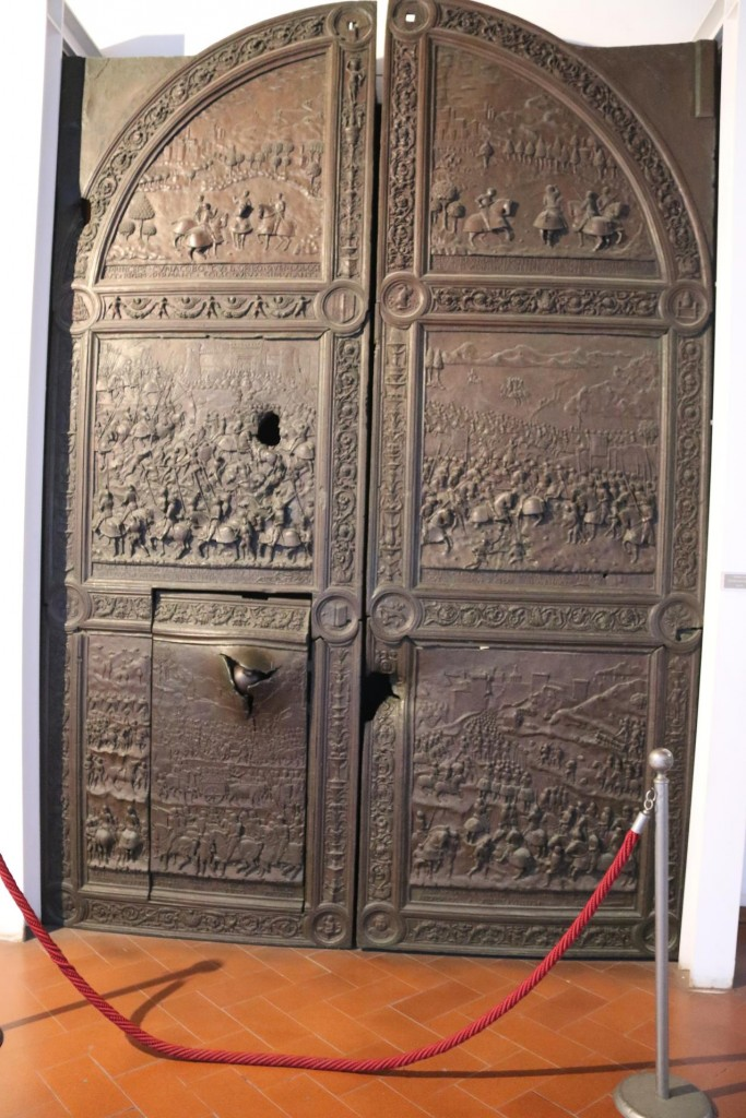 This is the original entrance door to the castle complete with iron canon-ball embedded in the bottom left panel