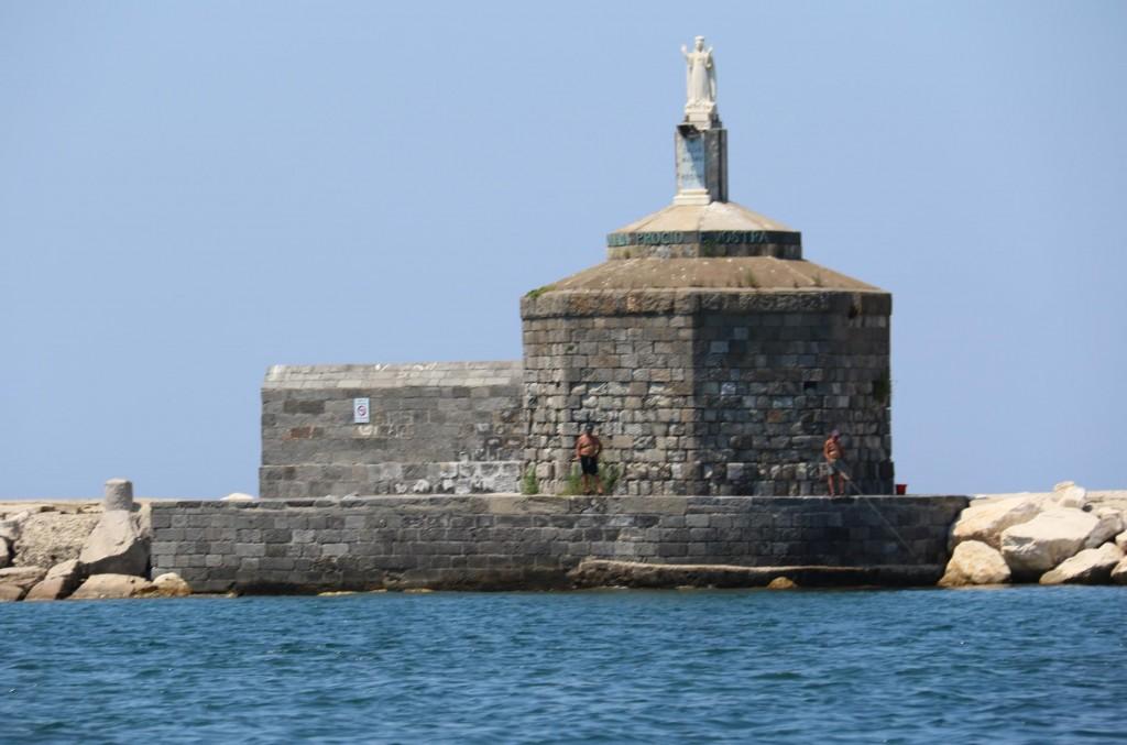 The patron saint of Procida overlooks the harbour
