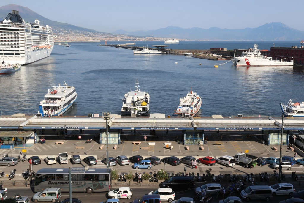 Wonderful views over the Port of Naples from the open museum windows