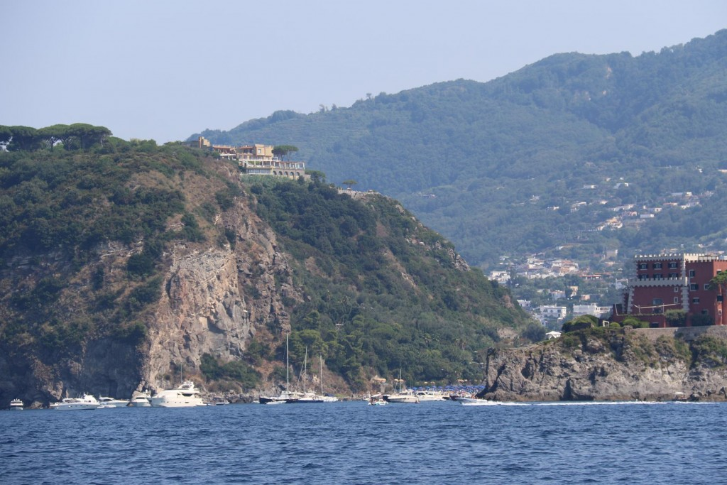 After leaving Porto d'Ischia  we head along the north coast past a popular bay by the northwest point called Punta Cornacchia