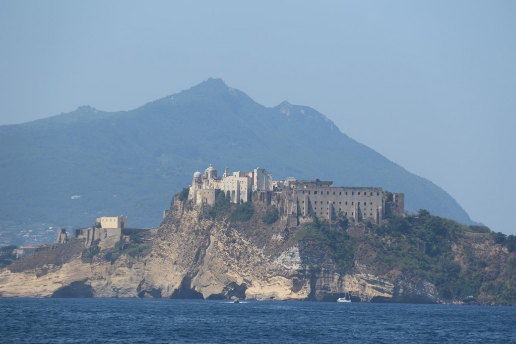 In the distance we can see the Castello Fort on Isola Procida with the high hills of Ischia in the background
