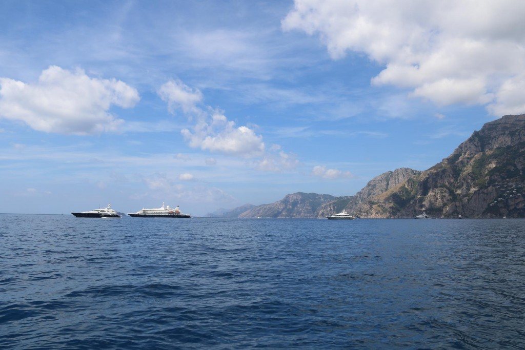 Numerous superyachts can be seen all along the Amalfi Coast