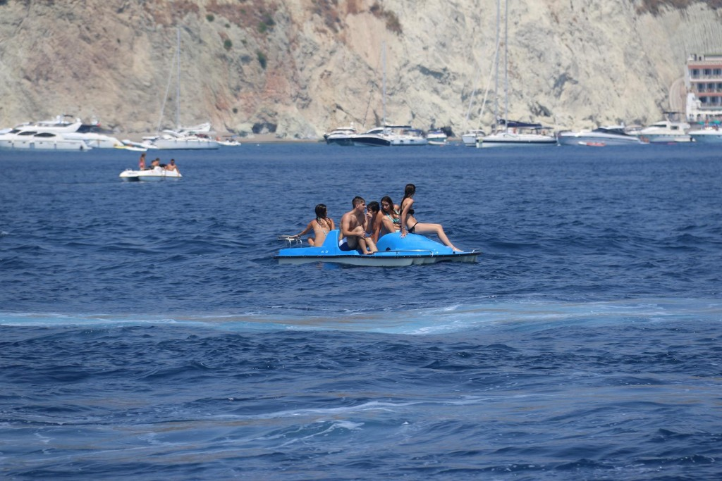 These young people were almost swamped by passing boats