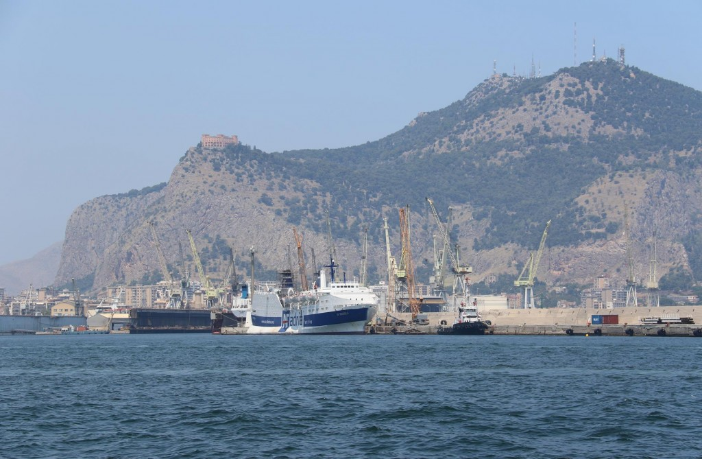 We leave behind the busy industrial port of Palermo