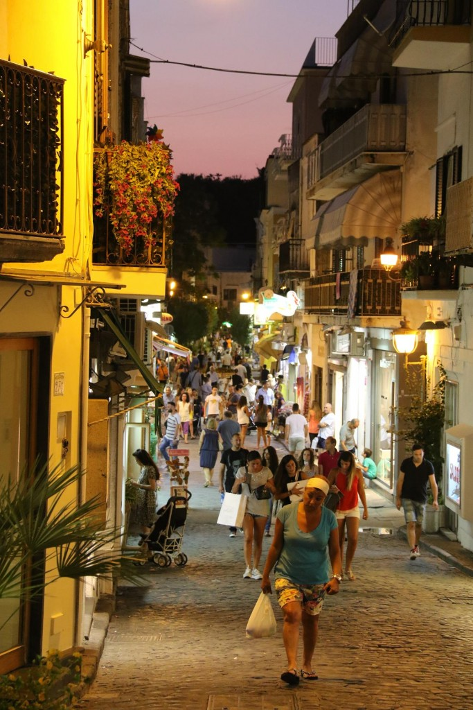 This long street lined with shops goes from Porto d'Ischia  for literally miles