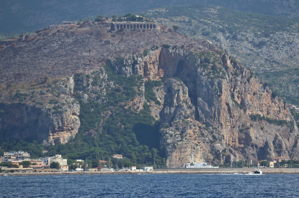 The Roman Temples at Terracina high above the sea