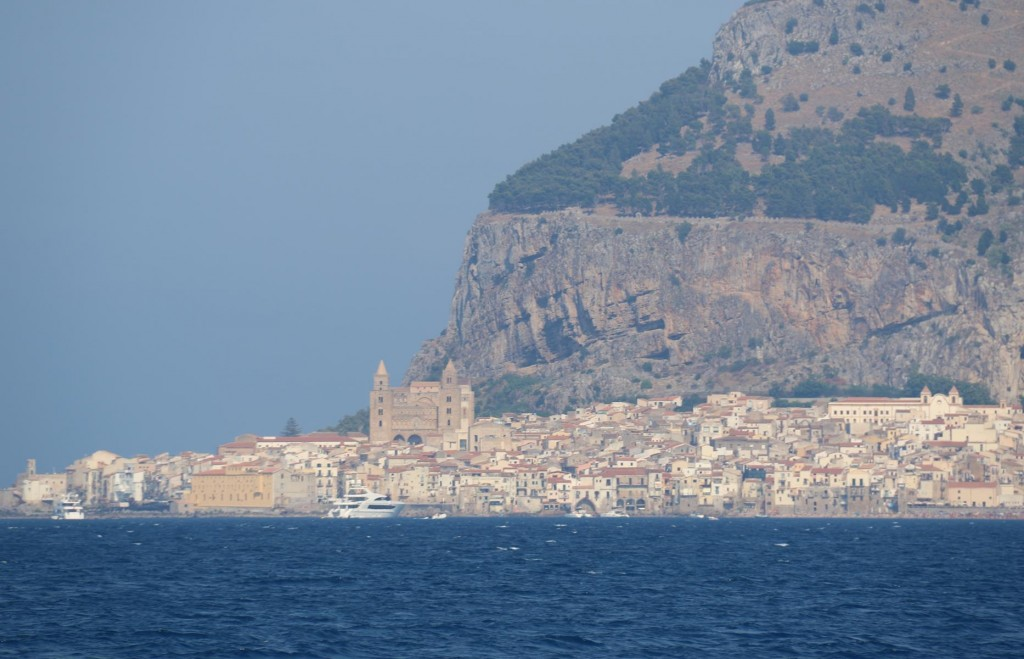 After travelling for a few hours we approach the lovely medieval town of Cefalu
