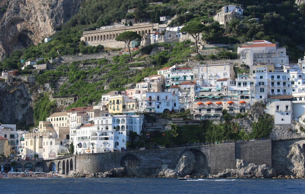 Hotels and and apartments line the surrounding hillside of Amalfi town