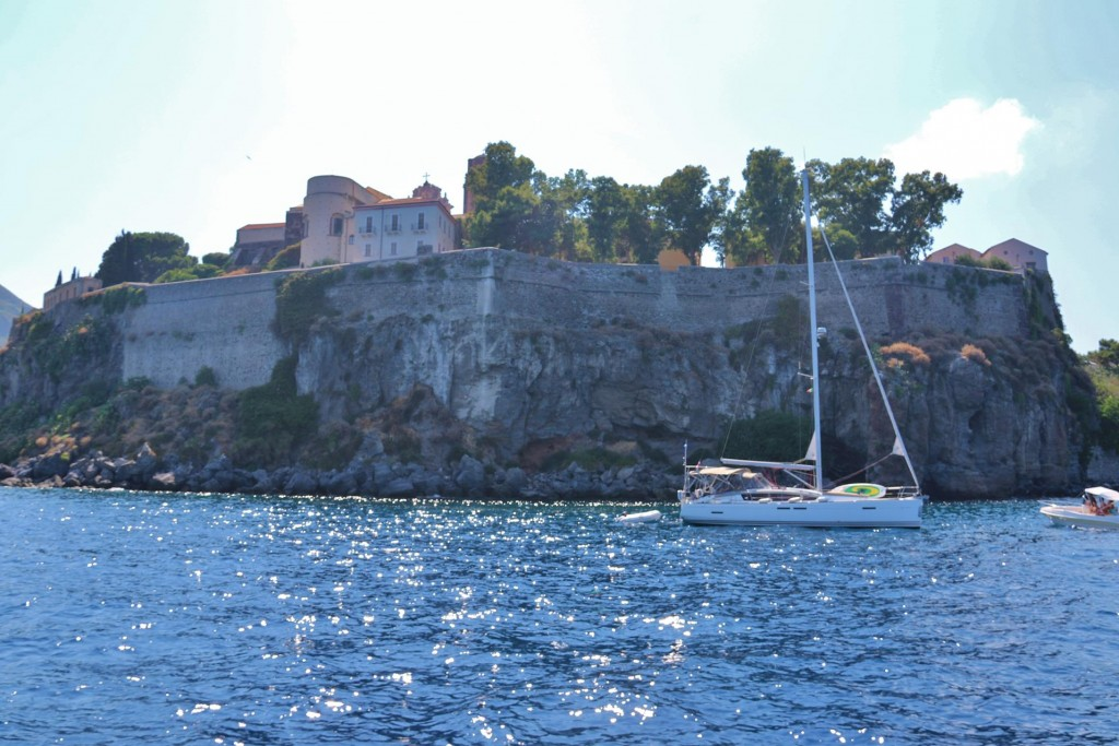 Continuing south to the main port of Lipari we try to get a berth however it was too far too busy